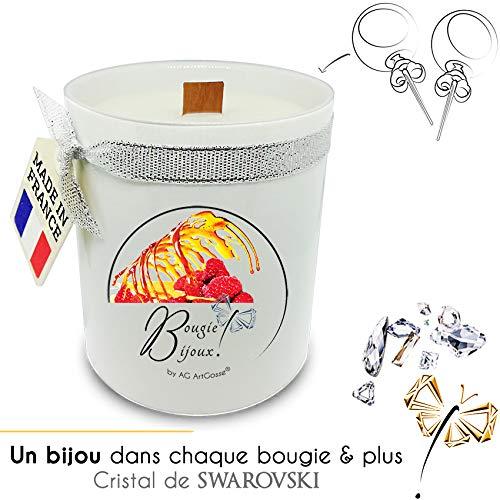 AG ArtGosse - Vela de Joyas Frambuesa con Cristal de Swarovski - Perfume de Grasa y Mecha de Madera - Caja de Regalo - Pendientes