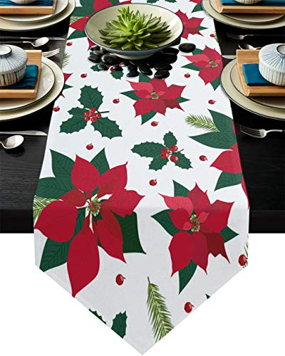 Ruian Store Christmas Red Flowers Poinsettia Table Runner Dresser Scarves, Berries and Plants Kitchen Linen Burlap Table Runners for Home Dining, Holiday Parties, Wedding, Banquet Decor 18x72inch
