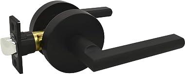 Nuk3y Thor Series Lever Door Handle Slim Round Modern Contemporary Lever Set (Passage, Matte Black)