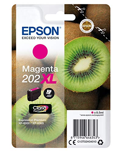 Epson 202XL Tintenpatrone Magenta 8,5 ml 650 Seiten – Tintenpatronen (Magenta, Epson, Expression Premium XP-6000, XP-6005, C13T02H34010, Tintenstrahldrucker, 8,5 ml)