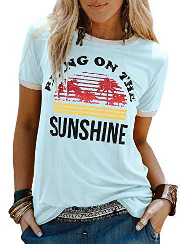 Dresswel Damen Bring On The Sunshine T Shirt Kurzarm Rundhals Sunshine Top T-Shirt Sommer Oberteile Oben, Hellblau, Size XXL(EU44-46)