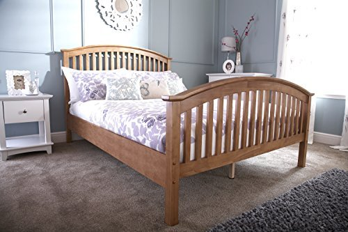 Madrid 4ft Small Double HIGH FOOT END Wooden Bedstead - Oak by Right Deals UK