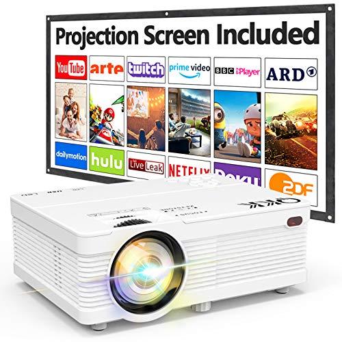 Proyector QKK AK-81 con Pantalla Proyección, 5000 Lumens Proyector Video Soporta 1080P HD, Proyector Nativo 720P Compatible con Smartphone HDMI SD AV USB, Proyector Teatro en Casa, Blanco.