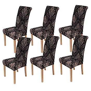 smiry 6 Pack Printed Dining Chair Covers Stretch Spandex Removable Washable Dining Chair Protector Slipcovers for Home Kitchen Party Restaurant  Black with Brown