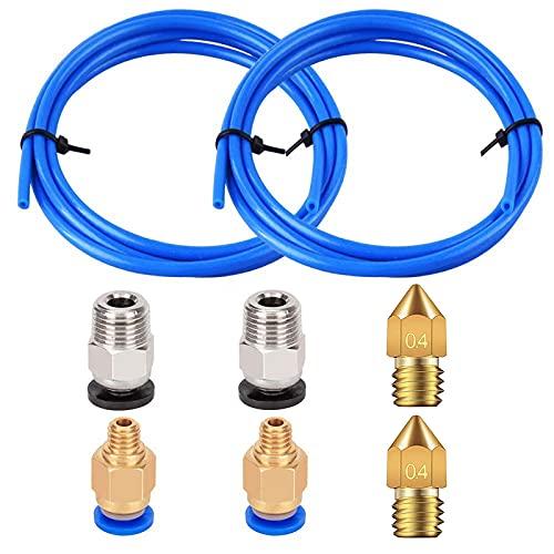 R RUNVEL Tubo de PTFE 2 x 1 m de tubo de teflón con 2 conectores PC4-M6 y 2 conectores PC4-M10, 2 boquillas de impresora 3D de 0,4 mm para impresora 3D, filamento de 1,75 mm