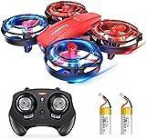 Sansisco Drone para Niños, Mini Drone con LED Color Luz, Modo sin Cabeza, Tres Velocidades, Un Botón de Despegue y Aterrizaje, Quadcopter para Niños, Regalo de Cumpleaños para Niños
