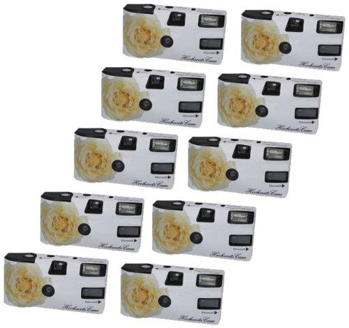 """Hochzeitskamera \""""Weiße Rose\"""" - 10er Pack Einwegkamera mit Blitz (27 Aufn. 400 ASA)"""