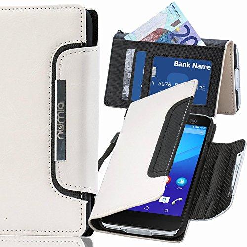 numia Sony Xperia M2 Hülle, Handyhülle Handy Schutzhülle [Book-Style Handytasche mit Standfunktion & Kartenfach] Pu Leder Tasche für Sony Xperia M2 Dual Hülle Cover [Weiss-Schwarz]