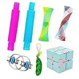 LYL happy 7 Pieces Mini Set Toys Pop Tubes Infinity Cube Squeeze Bean Fidget Toy...