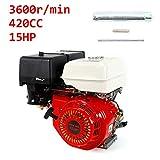 YIYIBY Benzinmotor Standmotor Kartmotor Motor 9KW 420CC Pumpen und Boote 4-Takt-OHV-Einzylinder mit 15 PS Baumaschine Schwerlastmotor
