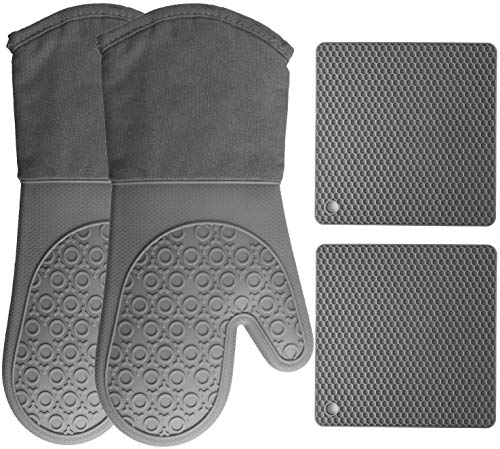HOMWE Silicone Oven Mitts and Pot Holders, 4-Piece Set, Heavy Duty Cooking Gloves, Kitchen Counter...