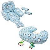 ClevaMama ClevaCushion Cuscino Allattamento Antisoffoco Neonato, Riduttore Passeggino, Blu
