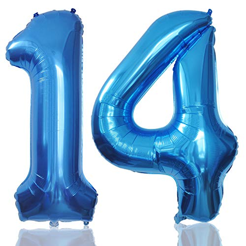 Foil Globos Numeros Gigantes 14 Azul 101 CM Globos de Cumpleãnos 14 Grande Globos Número 14 para Decoraciones Cumpleãnos Fiestas Boda Aniversario Hinchable (14)