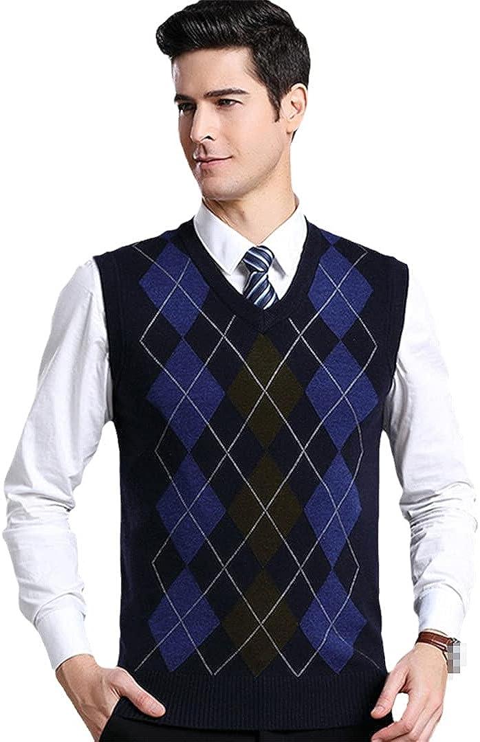 GYSAFJ Streetwear Wool V-Neck Vest Autumn Winter Striped Sweater Vests Men Sweater