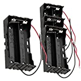 18650 Battery Case Holder, 4 Pcs 2 Slots x 3.7V DIY Battery Storage Box, in Parallel Black Plastic Batteries Case with Wire Lead for Soldering 2 x 18650, by Ltvystore (2slots)