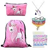 DRESHOW Unicorn Gifts for Girls Mochila con cordones/Bolso de maquillaje Unicorn Set para niños Fiesta
