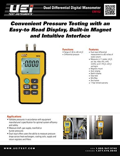 Electronic Dual Port Water Column Pressure Gauge Tool Digital Air Pressure Gauge Meter Gauge Differential Manometer HVAC Home Combustion Fluid Gas Tester Kit w// 11 Measuring Units Pyle PDMM15