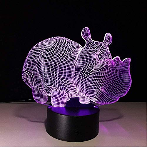 Rhinocerohippo Optical Cute Children 3D Illusion Lamp Suitable For Boys And Girls Bedroom Bar Living Room Birthday Christmas Gifts Usb Charging Touch Mode 7 Color Variations