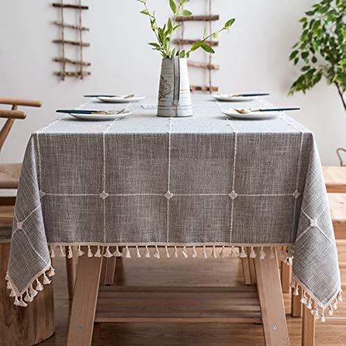 J-MOOSE Tovaglia in Cotone e Lino Anti-Macchia Tovaglia per Tavolo Rettangolare Decorazione Domestica della Cucina (Lattice Gray, 140x220cm)