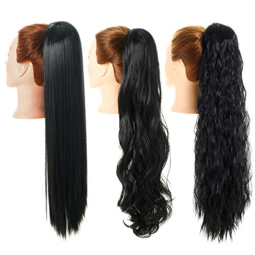3 Pack Long Ponytail Extension 24 Inch Synthetic Drawstring Ponytail Black Hairpiece for Women (Straight+Corn Wave+Curly Wave)