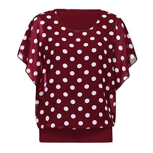 Zegeey Damen T-Shirt Bluse Batwing Rundhals Punkt Drucken Chiffon Spitzen Schicker Oberteil Tunika Tops(Wein,38 DE/M CN)