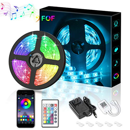 LED Strip Lights, FOF 16.4ft RGB Color Changing LED Strip Lights Kits with Remote, Bluetooth APP Controlled Music Sync LED Rope Lights, Waterproof SMD5050 LED Tape Light for Home, TV, Party Decoration