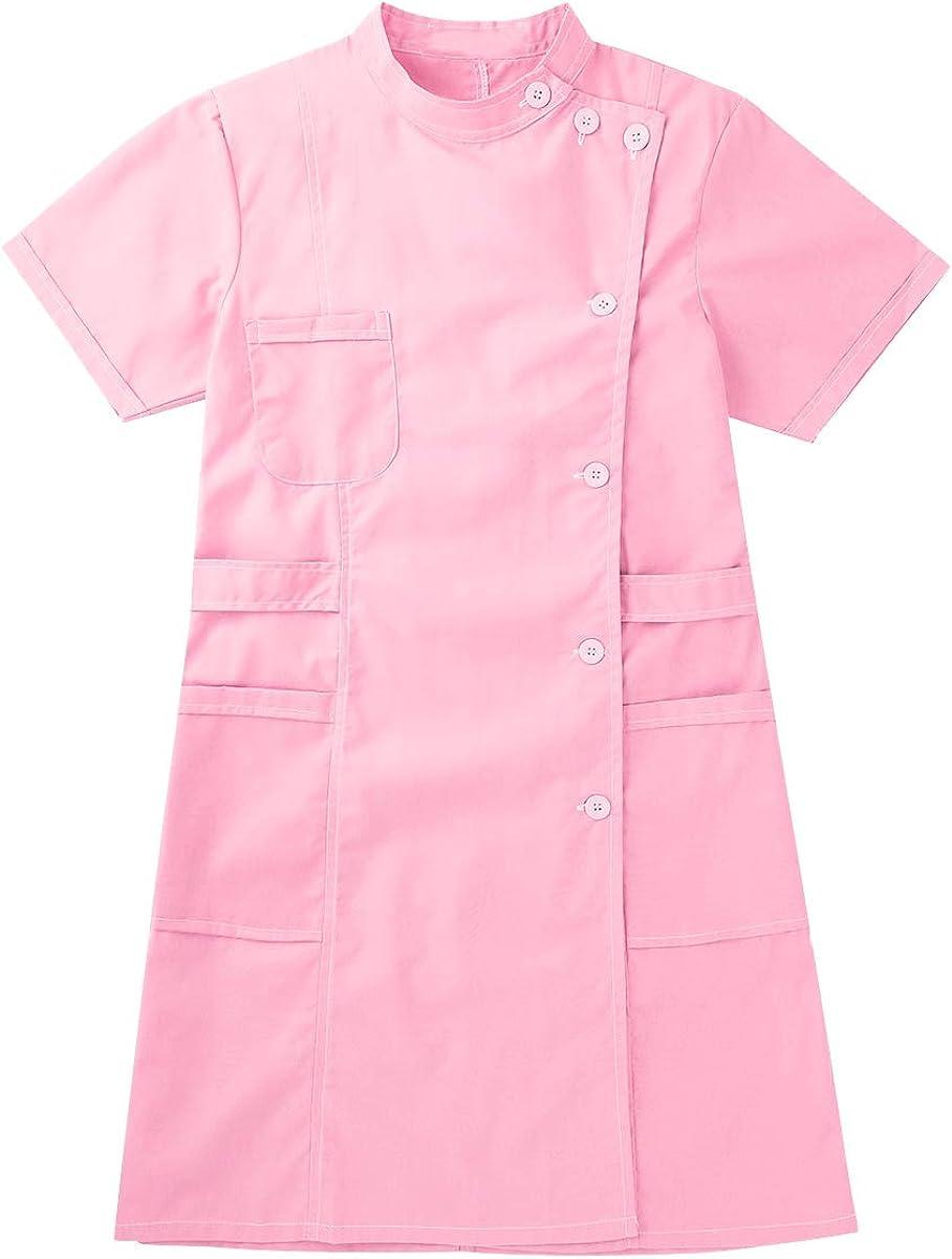 CHICTRY Damen Arztkittel Laborkittel Ärztin Krankenschwester Uniform Kleid mit Stehkragen Baumwolle Kurzarm Berufsmantel mit Tasche Cosplay Kostüm Rosa
