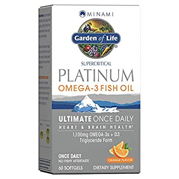 Garden of Life Minami Supercritical Platinum Omega 3 Fish Oil Supplement - Orange Ultimate Once Daily For Heart & Brain Health 1100Mg Omega-3S 1,000 Iu Vitamin D3 60 Softgels