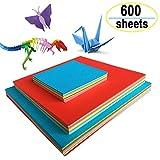 Origami Papier, Amison 600 Feuilles de Papier Origami Double Face 3 Tailles 10 Papier Couleur pour Bricolage...