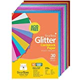 Colored Glitter Cardstock Paper - 92lb. / 250 GSM Cover - 30 Sheets A4 Craft Card stock for Gift Wrapping, Birthday, Arts, Craft Project, DIY, Party Wedding Decorations,Scrapbook, 10 Assorted Colors