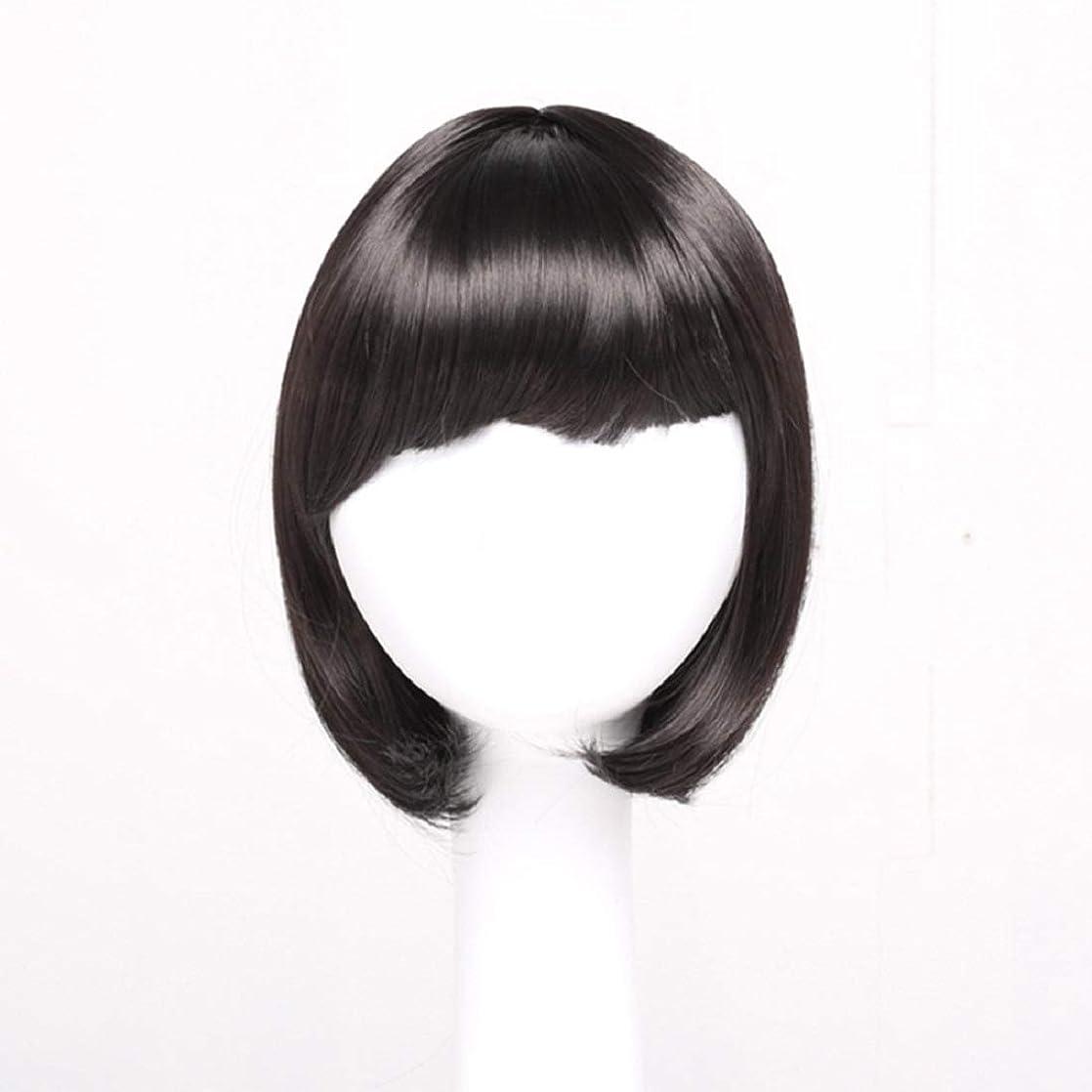 スパイラル負担不可能なSummerys レディースブラックショートストレートヘアー前髪付き前髪ウェーブヘッドかつらセットヘッドギア