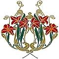 """Art Nouveau Florals - Art Ceramic Tile Mural 4.25""""w X 4.25""""h (4.25x4.25 Tile), Kitchen Shower Bath Backsplash"""