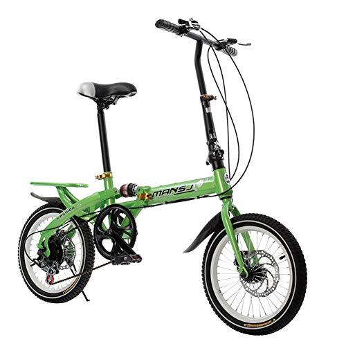 WAHHW 16-Zoll-Faltradschaltung, Einrad-Doppelscheibenbremse Reiserad männlich und weiblich klappbar Studentenauto,Grün