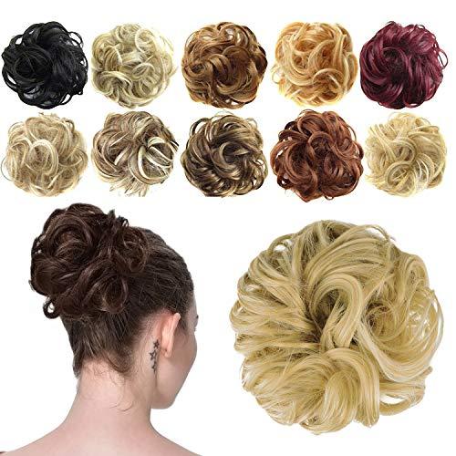 Feshfen Haargummi-Haarteil, für Haarknoten/Pferdeschwanz, Haarverlängerung, gewellt, unordentlicher Haarknoten, Dutt, Hochfrisur, Haarteil, A19 - Golden Blonde