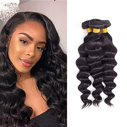 Brazilian Human Hair Loose Wave 3 Bundles (12 14 16 inch) 10A Human Hair Loose Wave Bundles Natural Color 100% Unprocessed Virgin Remy Human hair