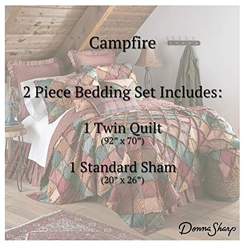 Donna Sharp Twin Bedding Set - 2 Piece - Campfire Lodge Quilt Set with Twin Quilt and One Standard Pillow Sham - Machine Washable