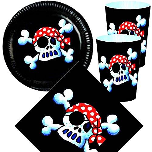 36 tlg. JOLLY ROGER-Set: Pappteller + Servietten + Pappbecher + Deko für Kindergeburtstag // Teller Becher Geschirr Party Deko Kinder Geburtstag Mottoparty Pirat Piraten Totenkopf