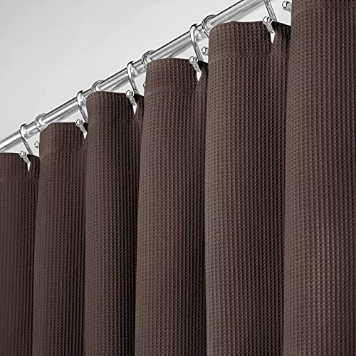 mDesign langer Premium-Duschvorhang, 100 prozent Baumwolle, Waffelmuster, Hotel-Qualität – für Badezimmer Dusche & Badewanne, super weich, leicht zu pflegen – 182,9 x 213,4 cm Pack of 1 schokoladenbraun