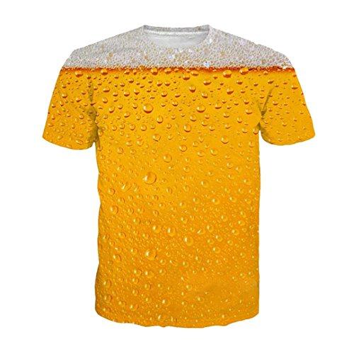 DUES Camiseta de la impresión de la Cerveza es la Letra del Tiempo Mujeres de Las Mujeres Camiseta Divertida de la Novedad Camisetas de la Manga Corta Ropa del Equipo Unisex 2 M