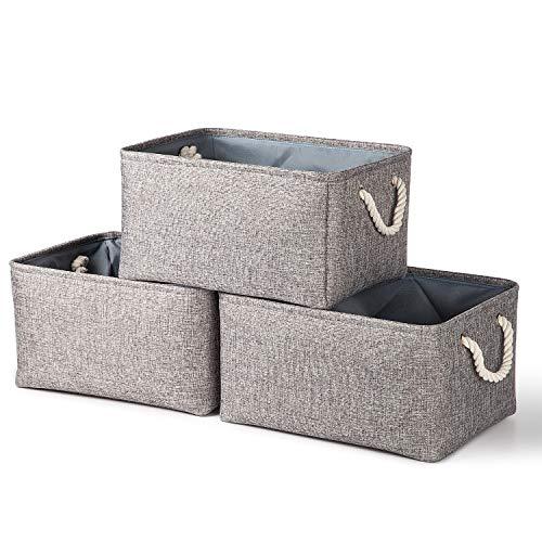 Syeeiex Large Fabric Storage Boxes [3er-Pack] Spielzeugkörbe, dekorative Körbe mit Griffen, zusammenklappbare Körbe zum Organisieren, Aufbewahrungskörbe für Regale, Spielzeug, Kleidung, Büro (Grau)