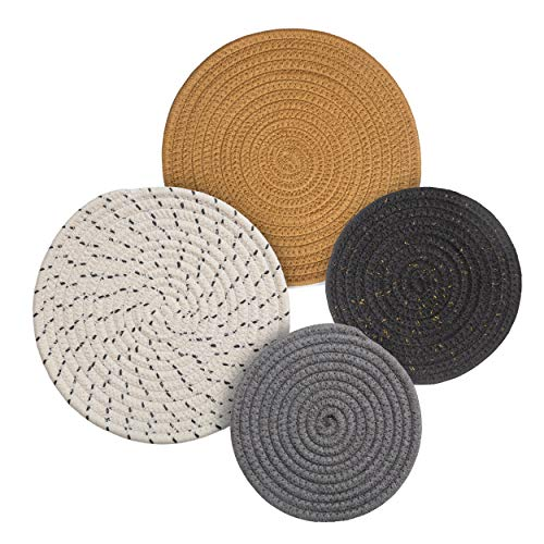 Potholders Set Trivets Set 4pcs 2 Sizes 7 Inches & 9 Inches Diameter 100% Eco Pure Cotton Thread Weave Trivets for Hot Pots and Pans | Kitchen Trivets for Hot Dishes Hot Pot Holders (Touch of Glam)