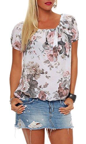 Malito Damen Blusenshirt mit Blumen Print | Oberteil mit Schleife | Hemdbluse - Tunika - modern 3443 (weiß)