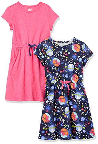 Spotted Zebra Girls' Knit Short-Sleeve Cinch-Waist Dresses, 2-Pack Space/Pink, Small