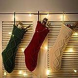Lazyspace Set di 3 calze di Natale, 45,7 cm, con cavo grande, idea regalo per feste di Natale, feste in famiglia, colore bianco avorio, borgogna e verde