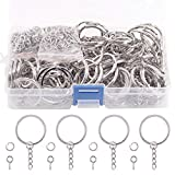 Swpeet 300Pcs 6/5 Inch 30mm Sliver Flat Key Chain Rings Kit, Including 100Pcs Split Keychain Rings with Chain...