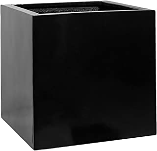 "Black Square Planter Box Indoor & Outdoor - Elegant Matte Cube Shaped Flower Tree Pot - Inner Dimensions 20""H x 20""W x 20""L - by Pottery Pots"
