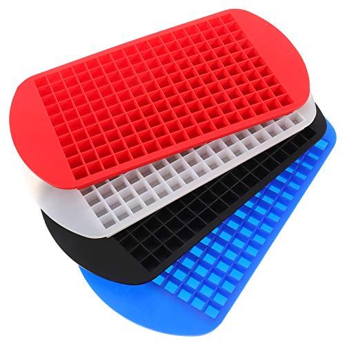 Mini-Eiswürfelschalen, Silikon Eiswürfelform Mini 4er Pack, 160 Eiswürfelschale, für Küche, Bars, Whisky, Cocktails und Getränke (Rot,Weiß,Blau,Schwarz)
