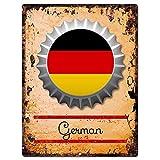 None Brand County, tappo per bottiglia con bandiera tedesca, segno chic rustico vintage retrò cucina bar pub caffè negozio Alu