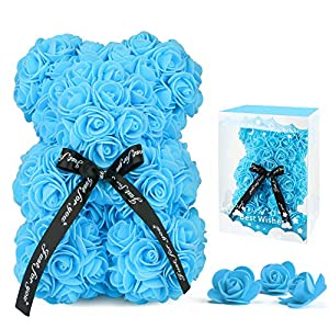 Silk Flower Arrangements Rose Flower Bear for Anyone Love,Artificial Flowers Forever Bear,Romantic Gift for Her,Valentines Day,Mothers Day, Anniversary, Birthday ,Wedding,Unique Clear Gift Box(Blue)