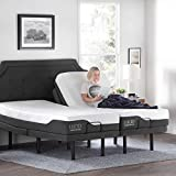 LUCID L300 Adjustable Bed Base with LUCID 12 Inch Memory Foam Hybrid Mattress - Split King